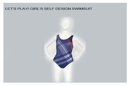 Girls Self Design Swimsuit