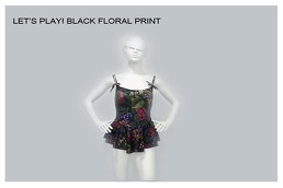 Black Floral Print Swimsuit
