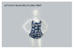 Blue Floral Print Girl's Swimwear